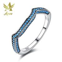 ANGG Real 925 Sterling Silver Ring With Geometric Blue Stone Engagement Wedding Birthday Gift Jewelry For
