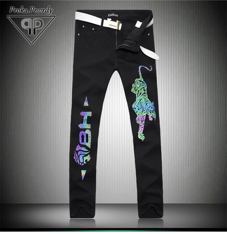 ФОТО high quality 2017 New Mens Skinny Reflective Flower Printing Jeans Fashion Nightclub Men Straight fit Tiger printing Jeans