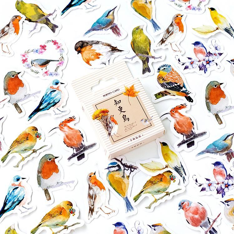 45 Pcs/Box Robins Birds Decorative Stickers Adhesive Stickers DIY Decoration Diary Stationery Stickers Children Gift