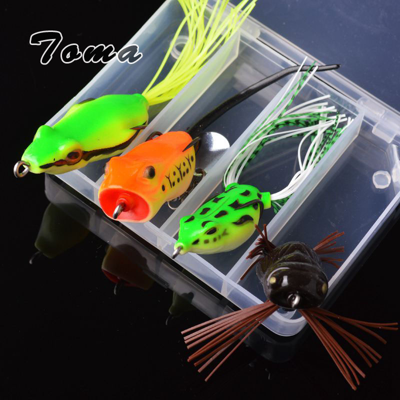 TOMA 4pcs Frog Fishing Lures Kit Noise sequins 5g-11g Snakehead Lure Soft Bait Topwater Frog Lure with Box Fishing Tackle seanlure 101 pcs lure kit free tackle box soft lure glow minnow fly fishing frog grub hook connector clip jig head craw leader