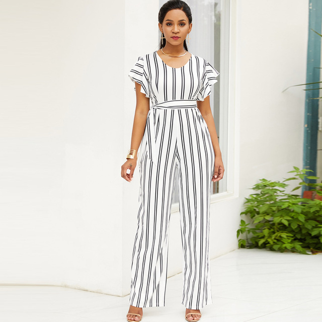 ce1bb0d58697 Elegant Fashion Ruffle Women Jumpsuit Short Sleeve White Black Striped  Summer Romper Wide Leg Trouser Long Overall Casual Outfit