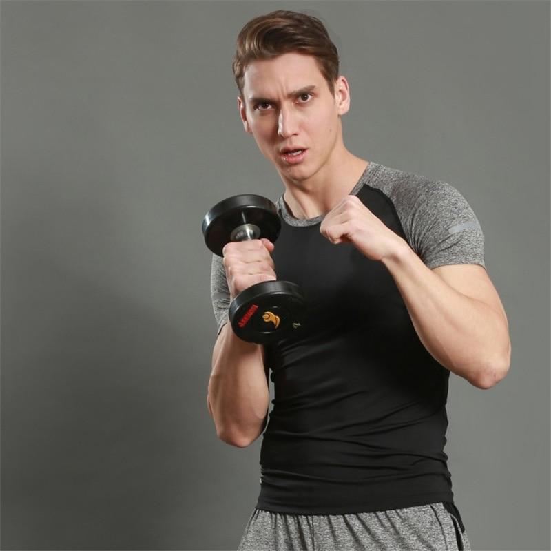 New Fitness Compression Shirt Men Short Sleeve T shirt