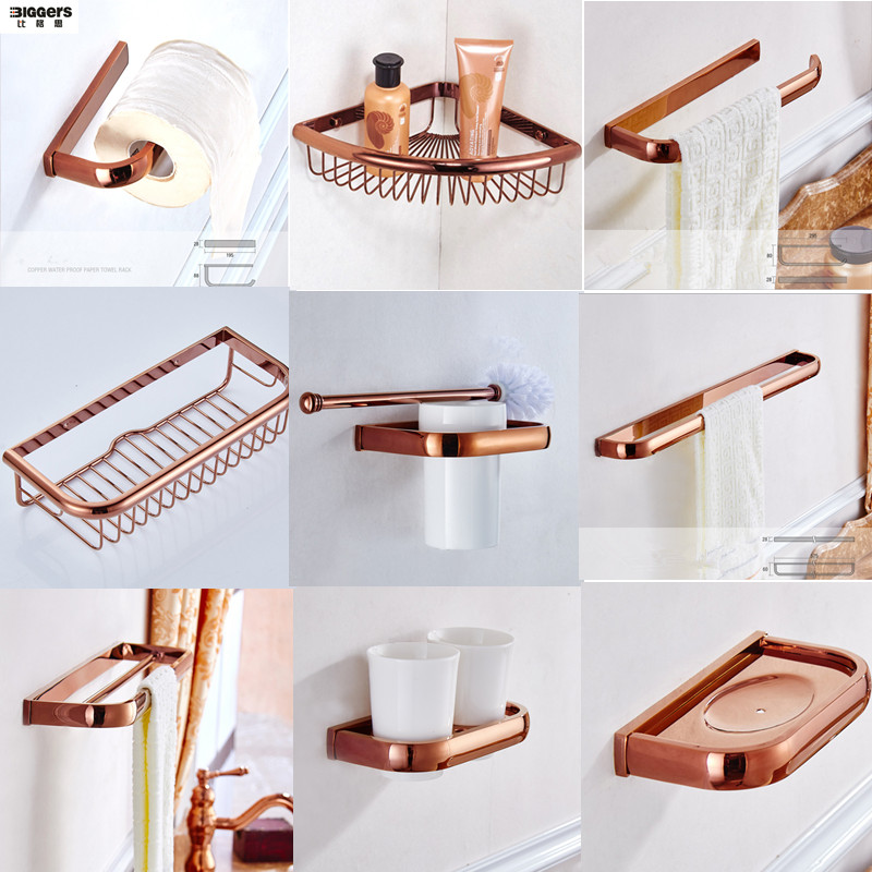 Free shipping Biggers Luxury rose gold copper bathroom accessories set paper holder towel bar