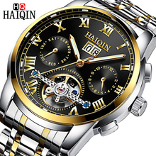 2019 HAIQIN Brand Mens Watch Automatic Mechanical Bussiness Men Tourbillon Steel Waterproof Male Wrist Week Clock