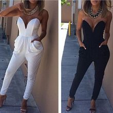 808245b77ba1 New Women s Clothing Female Black White fashion solid color pocket tube top  jumpsuit Siamese pants Ms