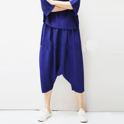 Changpleat, оригинальные дизайнерские женские брюки с крестиками, Miyak, плиссированные, высокая мода, свободные, с эластичной талией, однотонные, б...