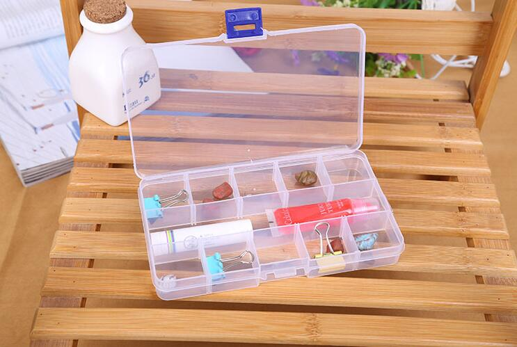 freeshipping 10pcs 15 Grid Transparent Plastic Storage Box Makeup Jewelry Pearl Fishing Gear Electric Accessories Storage Box