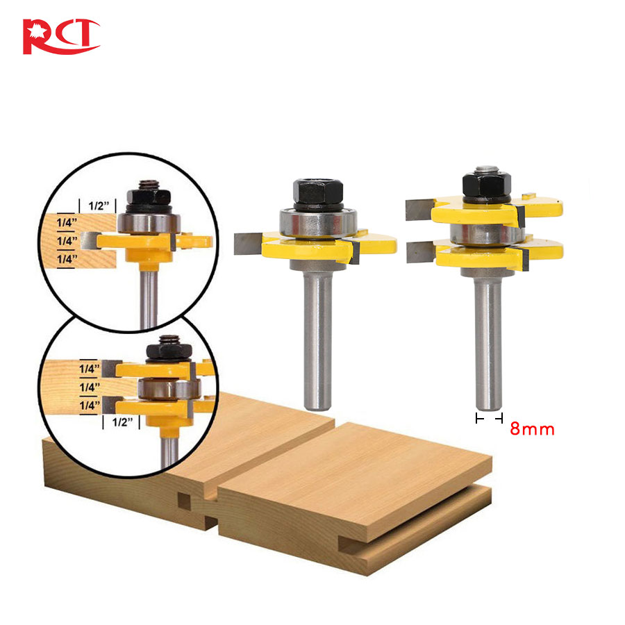 2 Bit Tongue and Groove Router Bit Set Wood Milling Cutter -8mm Shank 12pcs milling cutter router bit set 1 2