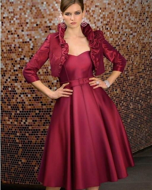 Elegant Red Wine Mother Of The Bride Dresses 2016 New Arrival A Line Satin Tea