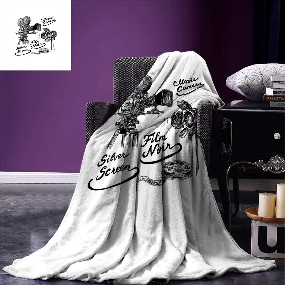 Movie Theater Throw Cinematography Themed Artwork with Old Camera and Equipment Silver Screen Warm Microfiber Blanket image