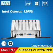 XCY Fanless Celeron 3205U Mini PC Windows 10 4G RAM 128G SSD Small Desktop HTPC TV BOX with 6 USB 300M Wifi HDMI VGA