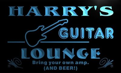 x0071-tm Harrys Guitar Lounge Custom Personalized Name Neon Sign Wholesale Dropshipping On/Off Switch 7 Colors DHL
