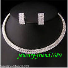 hot sell new - Jewelry Wedding/Bridal 2 rows crystal necklace choker earring set >^^1>18K gold plated watch Quartz stone CZ cr(China)