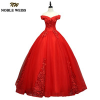 NOBLE WEISS Hot Red Quinceanera Dresses Sweet 16 Ball Gowns Applique Lace Cap Sleeves 2018 Vestidos De 15 Anos Debutante