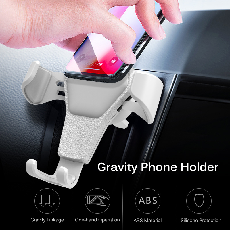 Image 2 - Universal Car Phone Holder Gravity Car Air Vent Mount In Car For iPhone XS X Samsung Xiaomi One hand Operate Phone Stand Bracket-in Phone Holders & Stands from Cellphones & Telecommunications
