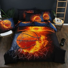 Basketball Fire Cartoon Printing Bedding Set Flower Bed Linen 4pcs/set Duvet Cover Pastoral Sheet AB Side