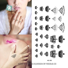 2sheets 1165 Waterproof Fake Tattoo Stickers Black Fast Tattoo Little Diamonds And Crowns Water Transfer Temporary Tattoos Sti