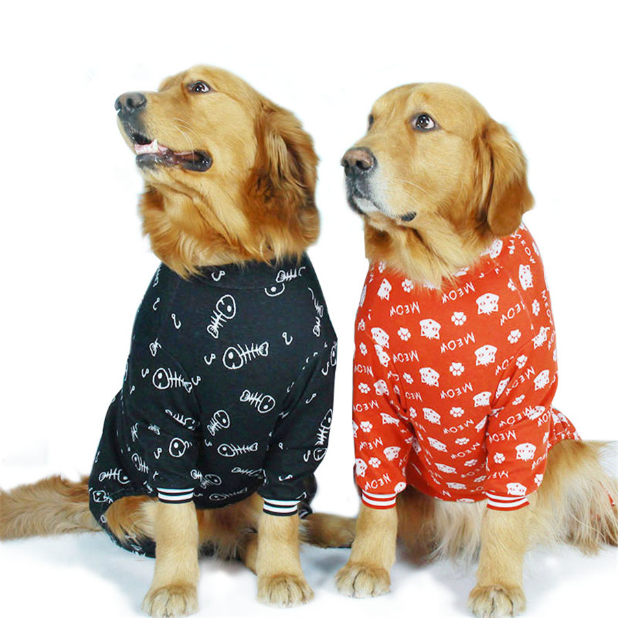 Cotton large dog clothes Big dogs Spring summer Fishbones catheads Jacquard dog coat Four-legged overalls large dog clothes2019