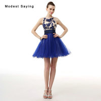 New 2017 Elegant Royal Blue Short Homecoming Dresses With Beading Formal Beaded 8 Grade Graduation Gowns
