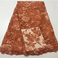 african fabric lace Embroidery Nigerian Lace Fabric for weeding High Quality 3d flower african beaded lace fabric