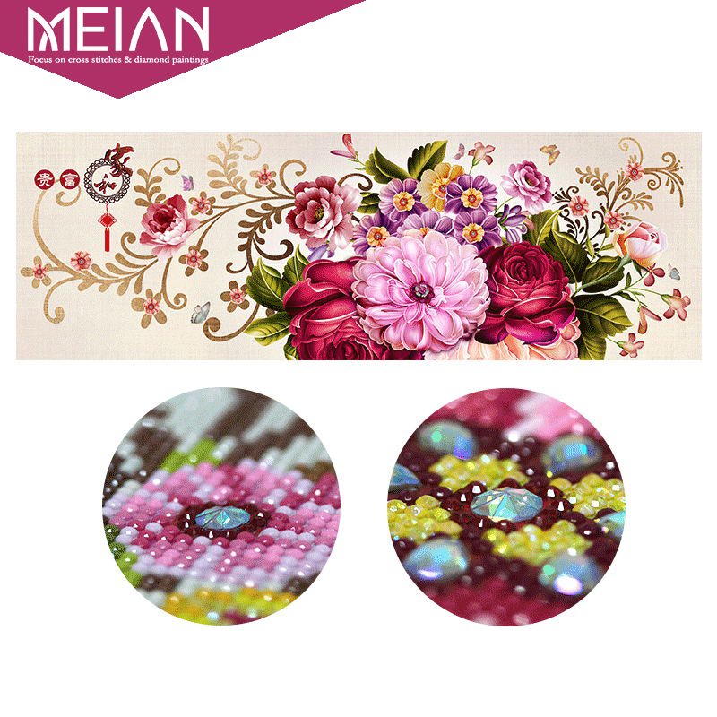 Meian Special Shaped Diamond Embroidery Full DIY Diamond Painting Flowers Cross Stitch Diamond Mosaic Bead Picture
