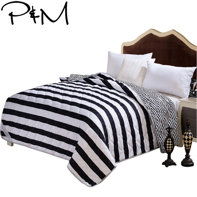PapaMima Black And White Stripes Print Summer Quilt Twin Queen Size Awesome Black And White Striped Throw Blanket