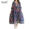 New Arrival Preppy Style Womens Elegant Vintage Print Loose Long Dress High Quality cotton linen Summer Swing Dress X061