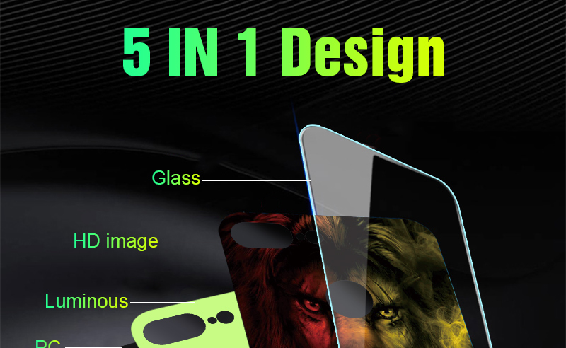 Luminous Case For iPhone X XS MAX Case For iPhone 7 6 s 8 Plus X 10 Luxury PC+Tempered Glass Pattern Silicone Edge Cover (13)