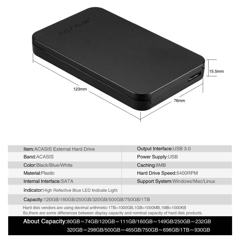 """ACASIS Ban Đầu năm 2.5 """"Ổ Cứng Di Động Gắn Ngoài Đĩa USB3.0 Tốc Độ Cao HDD dành cho PS4, xbox One/Xbox 360, MÁY TÍNH Mac, Laptop, máy tính bàn"""