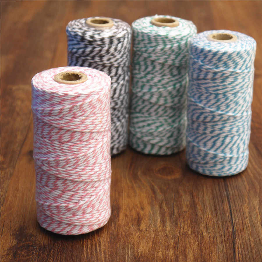 Gift Wrapping Colored String Pink String 50 YARDS Pink Cotton Twine Pink Baby Shower On Wood Spool Rustic Gift Wrap Bakers Twine