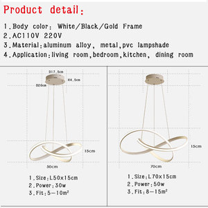Image 5 - Lámpara colgante de luz Led para el hogar lámpara colgante hogar moderna, de Color negro, dorado y blanco, para comedor, cocina, sala de estar y oficina