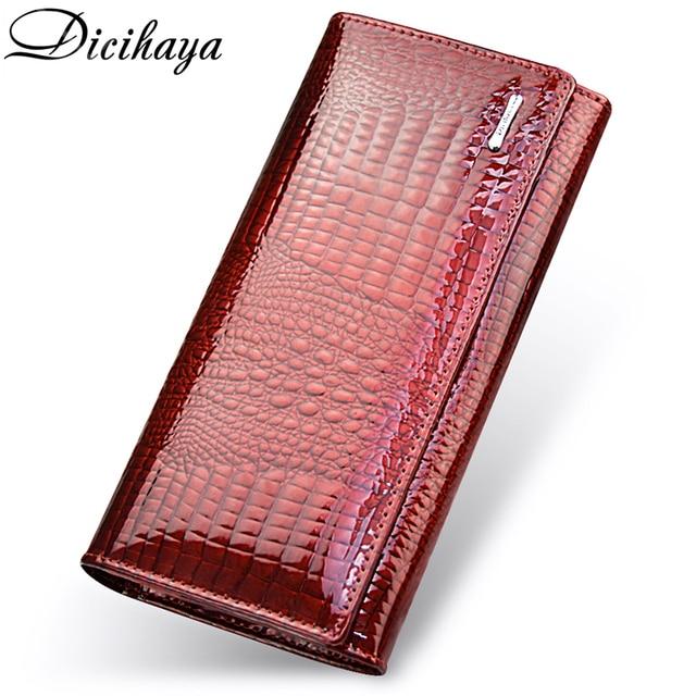 DICIHAYA ของแท้หนังกระเป๋าสตางค์ผู้หญิง Fallow ยาวคู่ซิปกระเป๋าสตางค์คลัทช์กระเป๋ากระเป๋าถือสีแดงจระเข้กระเป๋า