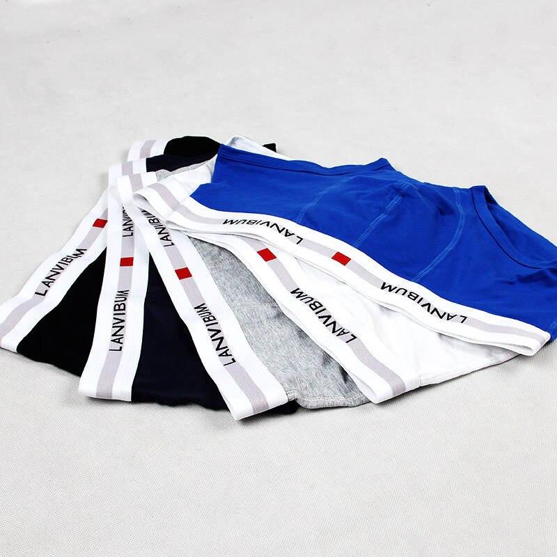 5Pcs/pack Mens Boxer Shorts Breathable Males Underwear Soft U Convex Pouch Underwear Bottoms Solid Color Homme Cueca Shorts 2019