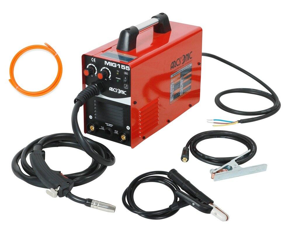 Gas/Gas No IGBT Arc soldador Mig 220 V MIG155 flujo núcleo de alambre de acero de la máquina de soldadura portátil DC 2 en 1 de soldadura Mig soldadura MMA