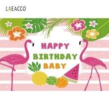Laeacco Flamingo Stripe Fruit Flowers Grass Birthday Photography Background Customized Photographic Backdrops For Photo Studio