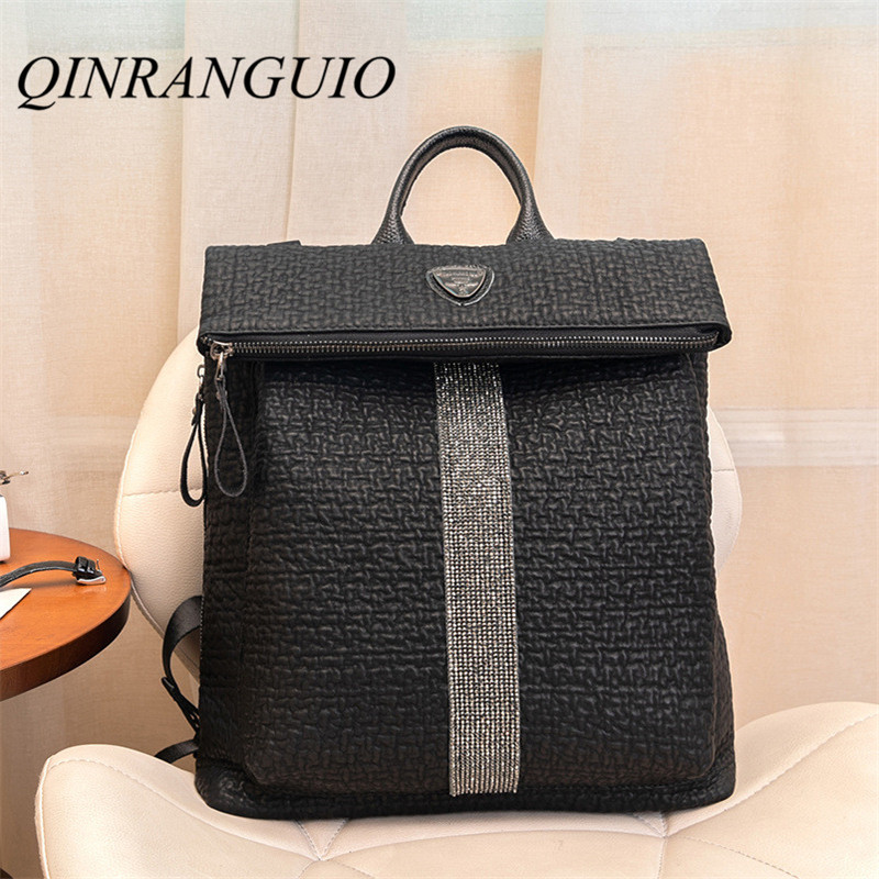 QINRANGUIO Genuine Leather Women Backpack 2019 New Design Black Leather Backpack Large Capacity School Backpack Mochila FemininaQINRANGUIO Genuine Leather Women Backpack 2019 New Design Black Leather Backpack Large Capacity School Backpack Mochila Feminina