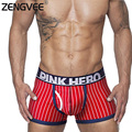 Nueva llegada mens underwear boxers estilo británico algodón elástico a rayas boxeador look de moda de alta calidad