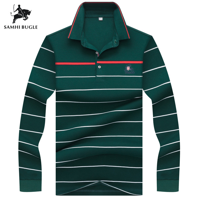 High Quality Stripe 3D Embroidery   Polo   Shirt Casual Lapel   Polo   Shirt Men's Long Sleeve   Polo   Shirt 2019 New Striped Men   Polos