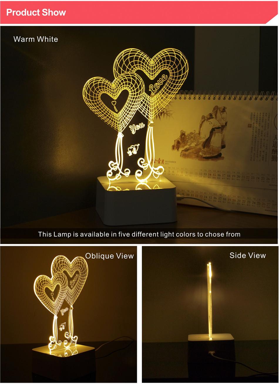 Novel USB Led Lights Loving Heart 3d Touch Home Decor Table Lamp (2)