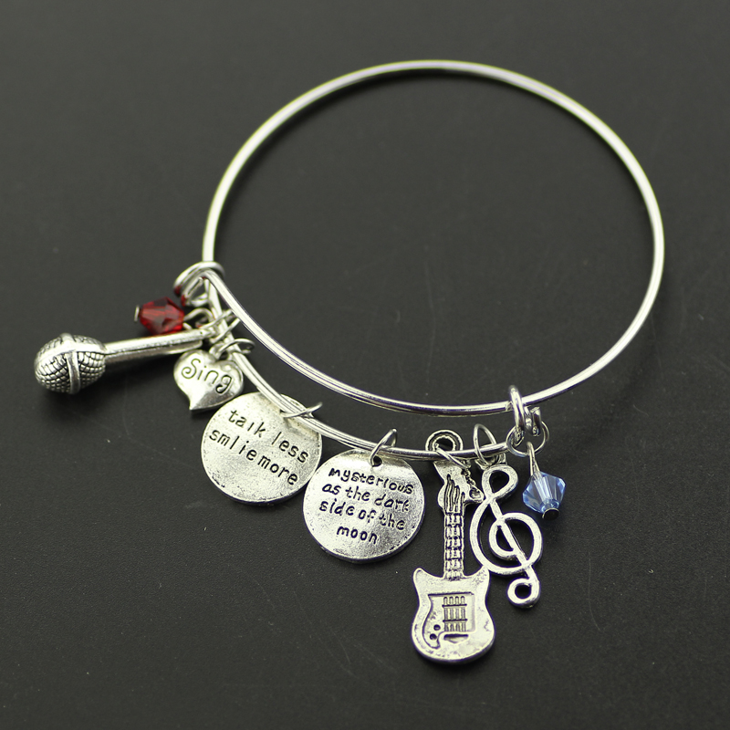 Talk Less Smile More Aaron Burrthe Musical Charm Bracelet Bangles Microphone Guitar Inspired For Gift Can Dropship
