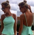 Sexy Backless Women Tops 2015 New Bleading Casual Slim Vest Tops Plus Size Summer Style Anchor Women's Tank Top All-matched