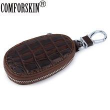 COMFORSKIN Hot Key wallets High Quality Cowhide Crocodile Pattern Vintage Cars Case Real Leather Unisex Holder Bag