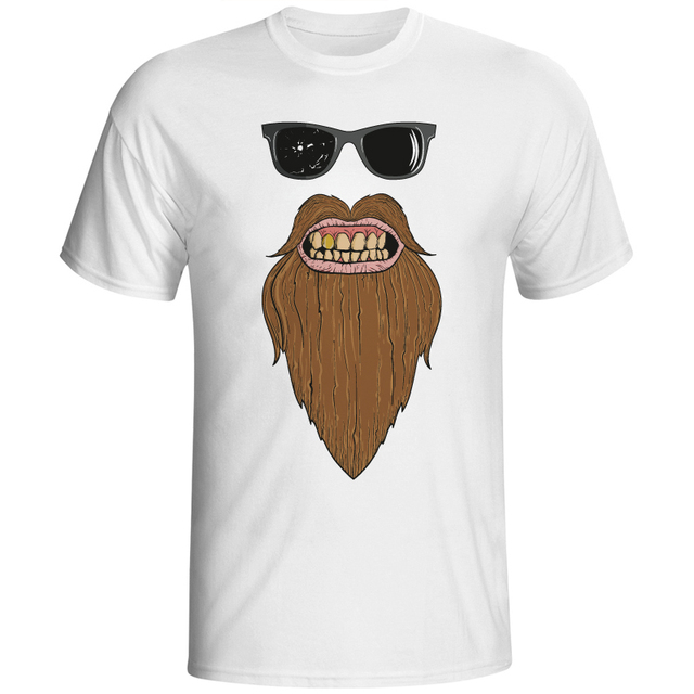 Fashion T Shirt Men Print Shirts Sunglasses Beard Skull Friseur