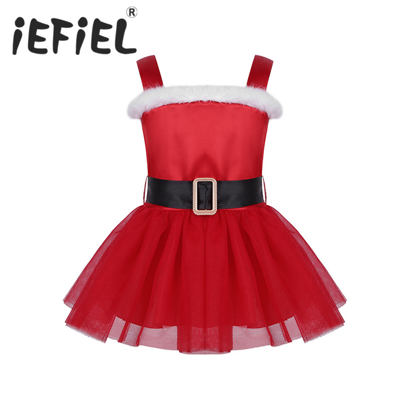 Feather Girls Christmas Party Sequins Tutu Dress up Santa Claus Xmas Red Costume