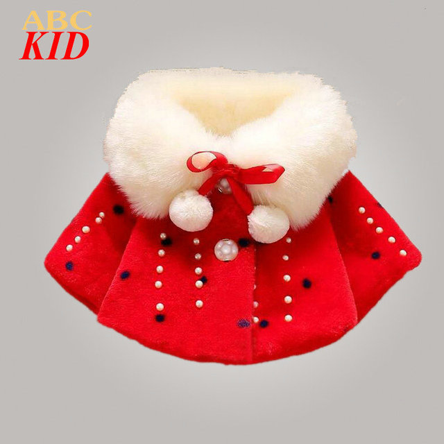 Baby Girl Faux Fur Coat Beading Clothes Imitation Fur Coat Kids Warm Outfits Children Winter Jacke Faux Fur Cloak KD355