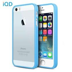 IQD pour iphone 5 s étui de protection SE Transparent mince choc-Absorption pare-chocs anti-rayures dos Transparent pour iphone 5 étuis de couverture