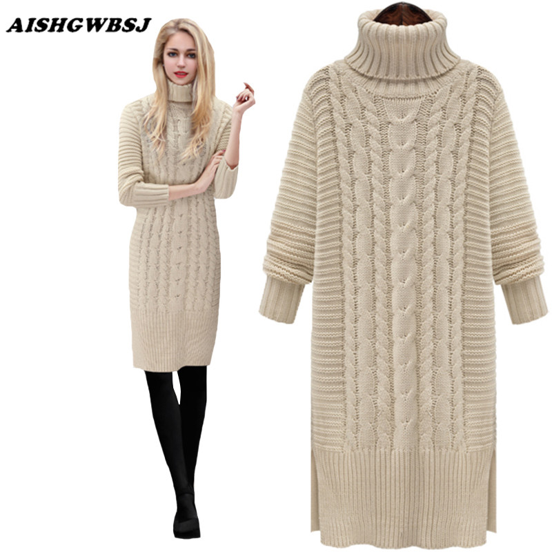 AISHGWBSJ Women Sweater Turtleneck Pullover Women Sweater Dress ...