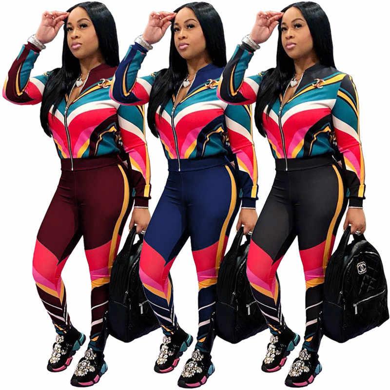17d20fb0 ... Adogirl Contrast Color Stripe Women Tracksuit Zipper Long Sleeve Jacket  Coat + Pants Fitness Sporting Suit ...