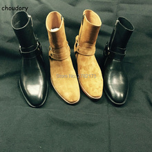 Factory Price Hot Brown Suede Leather Strap Men Boots Round Toe Side Zipper Stacked Heel Cool Boots Men Shoes Cheap Sale