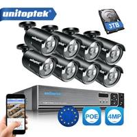 8CH 4MP POE IP Camera CCTV Surveillance System Kit Waterproof IP66 48V POE Bullet Cam NVR System P2P Cloud APP XMEye 3TB HDD